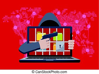 Ransomware with hacker pointing gun