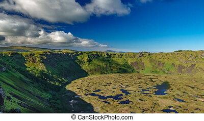 Ranu kau volcano crater wide angle time lapse - Wide angle...