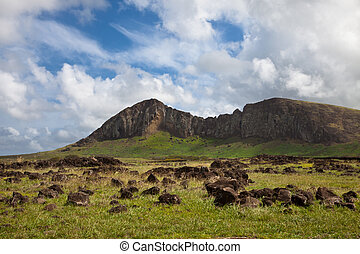 Ranu Rararku Crater walls on Easter Island