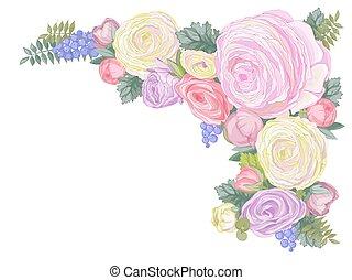ranunculus, 優しい, 横, 花, カード