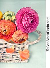 ranunculus, 柳条, 花, 托盘, 色彩丰富