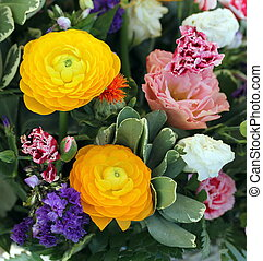 Ranunculus asiaticus or persian buttercup in Bouquet