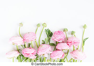 Bouquet of ranunculus flowers on white background. Flat lay, top view scene.