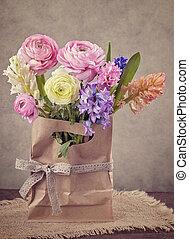 ranunculus, jacinthes, fleurs