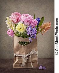 ranunculus, jacintos, flores