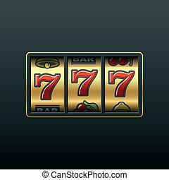 ranura, 777., machine., ganando