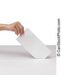 ranura, caja, papeleta, aislado, mano, poniendo, blanco,...