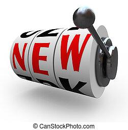 ranura, palabra, máquina, innovación, nuevo, ruedas, cambio