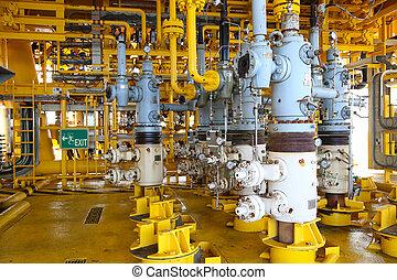 ranura, producción, gas, aceite