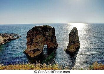 Raouche or Pigeon Rock, Beirut, Lebanon