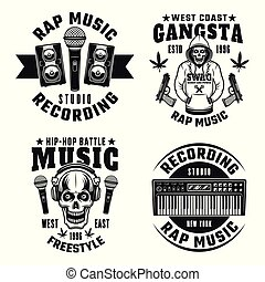 Rap and hip-hop set of four vector monochrome emblems, labels, badges or logos isolated on white background