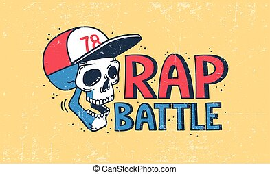 Rap battle logo with a skull in a baseball cap