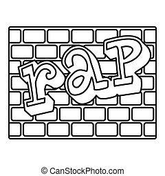 Rap bricks wall icon, outline style