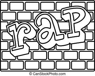 Rap bricks wall icon, outline style - Rap bricks wall icon....