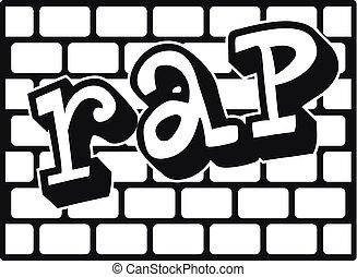 Rap bricks wall icon, simple style - Rap bricks wall icon....