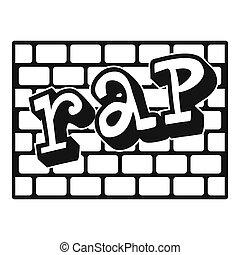 Rap bricks wall icon, simple style