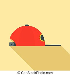 Rap cap icon, flat style