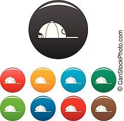 Rap cap icons set color