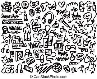 Rap doodles - rap doodles- set vector icons in sketch style