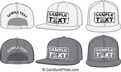 rap, gorra, frente, espalda, y, lado, vista., vector