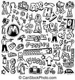 rap, hip hop , graffiti - doodles set - rap, hip hop ,...