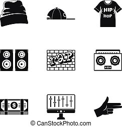 Rap icon set, simple style