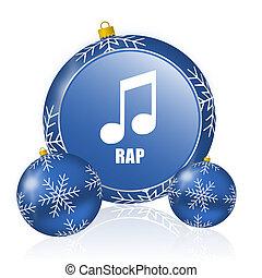 Christmas Rap Music.Dance Music Blue Christmas Balls Icon