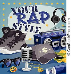 Rap Music Concept - Rap music concept with cartoon hip-hop...