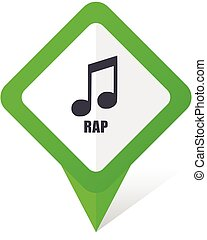 Rap music green square pointer web and mobile phone vector icon in eps 10 on white background with shadow