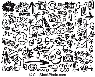 rap music , hip hop , graffiti icons set