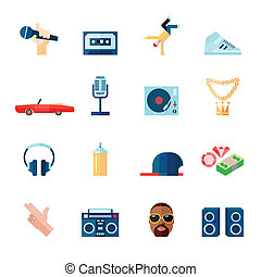 Rap music icons set flat