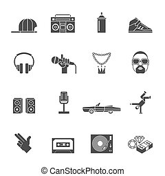 Rap hip hop music black icons set isolated vector illustration