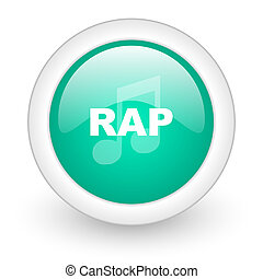 rap music round glossy web icon on white background