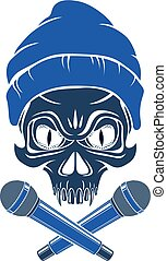 Rap music vector logo or emblem with aggressive skull and two microphones crossed like bones, Hip Hop rhymes festival concert or night club party label, t-shirt print.
