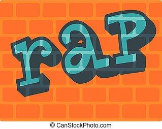 Rap on bricks wall icon, flat style - Rap on bricks wall...