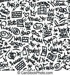 rap, hip hop symbols - seamless backgound
