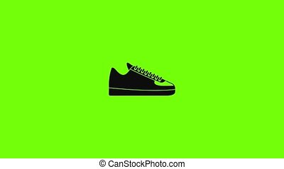 Rap sneakers icon animation best simple object on green screen background