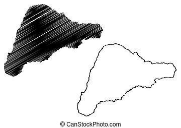 Rapa Nui island map vector illustration, scribble sketch...