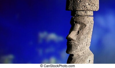 Rapa Nui, sky, zoom - Rapa Nui, monumental statue, moai,...