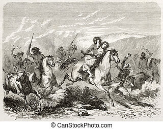 Rape - Old illustration of a raid and woman rape by south...