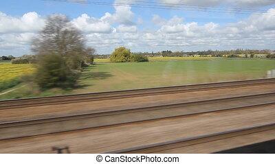 rapeseed., grande-bretagne, train.