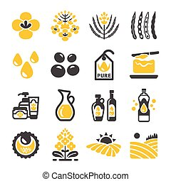 rapeseed icon - rapeseed and canola oil icon set