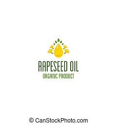Rapeseed oil and canola oil logo. Organic product vector ...