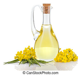 Rapeseed oil and flowers isolated o - Rapeseed oil in...