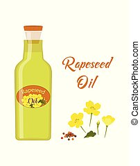 rapeseed oil isolated on white - vector illustration ...