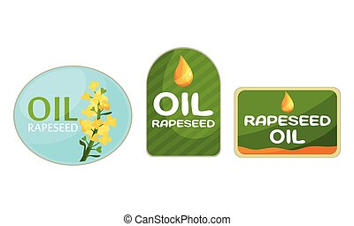 Rapeseed Oil Labels Isolated on White Background Vector Set...