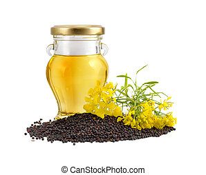 Rapeseed oil with seeds and flowers.