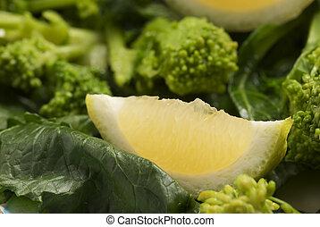 rapeseed tips, cime di rapa, with lemon