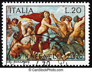 raphael, italie, villa, timbre, -, farnesina, rome, triomphe, 1970, peintre, imprimé, galatea, fresque, italien, environ, 1970:, spectacles