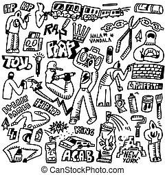 rap,hip hop ,graffiti - doodles set - rap,hip hop ,graffiti...